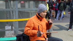 Blind Taiwanese Busker Playing Chinese Violin stock footage