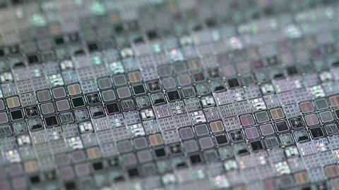 Rack Focus Of A Silicon Wafer Microchips 4k stock footage