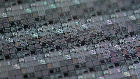 Macro Shot Of A Silicon Wafer Of Microchips 4k stock footage