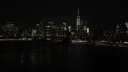 1007090 IMG 1220 NYC Downtown Manhattan Lights Over East River stock footage