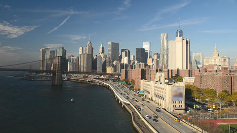 FDR Drive Traffic And Cars On A Sunny Day, All Ads Removed. New York Aerial View stock footage