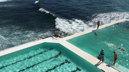 SYDNEY - NOVEMBER 10, 2015: Bondi Pools On A Sunny Day. The Pools Are A Famous A stock footage