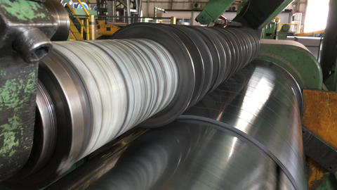 Steel Coils Cutting Machine In Industrial Factory stock footage