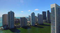 Aerial View Of Downtown Miami And Brickell Buildings On A Sunny Day stock footage