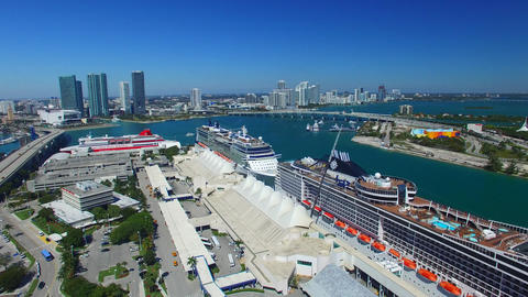 MIAMI – FEBRUARY 2016: Cruise Ships In The Port. Miami Is A Major Port Of Call stock footage