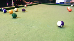 Playing Pool In A Pub stock footage