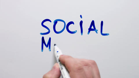 Person Writes The Words-Social Media stock footage