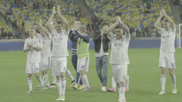 The Players Clap The Audience Thanks Them For Their Support . Slow Motion stock footage