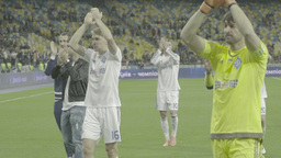 The Players Of The Football Club Clap To The Fans After The Match . Slow Motion stock footage