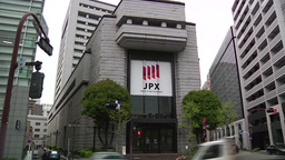 TOKYO STOCK EXCHANGE BUILDING EXTERIOR WIDE SHOT Footage