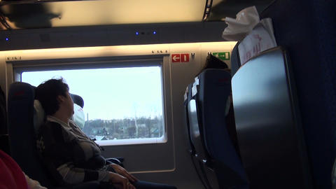 A passenger in a train Footage