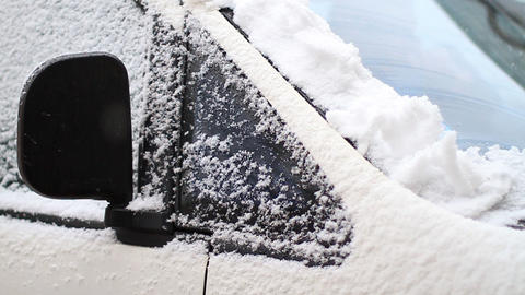 Car In Snow Trap stock footage
