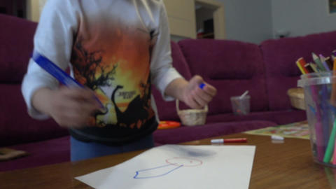 Boy Draws A Picture stock footage
