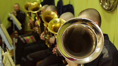 Prison Brass Band Playing The French Horn Russia stock footage