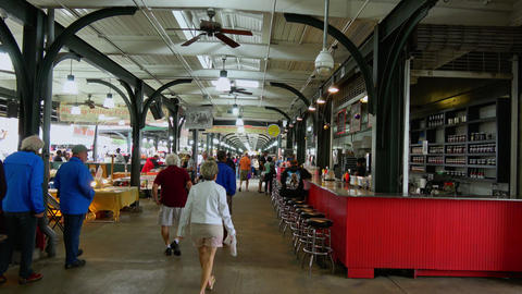 French Market In New Orleans French Quarter - NEW ORLEANS, LOUISIANA - APRIL 17, stock footage