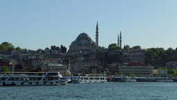 Rustem Pasa Mosque And Pleasure Boats stock footage