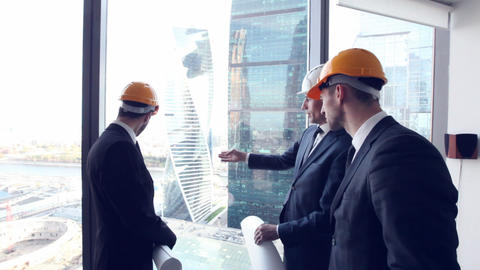 Architects team look at skyscrapers Footage