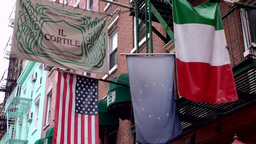 New York City 497 Little Italy; Italian, European And Stars And Stripes Flag stock footage