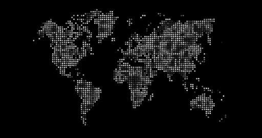 Loopable: Black And White World Map Made Of Shiny Dots stock footage
