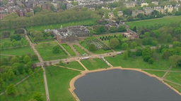 AERIAL OF KENSINGTON PALACE ROYAL FAMILY UNITED KINGDOM stock footage