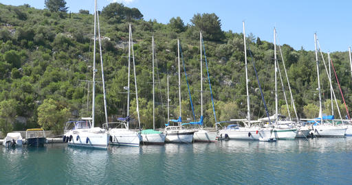 Boats Moored On The Shore Of The Island Seen On Board A Boat Cruise 58 stock footage