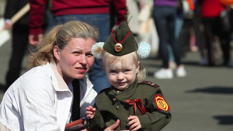 Family Mother And Her Child In Military Uniform stock footage