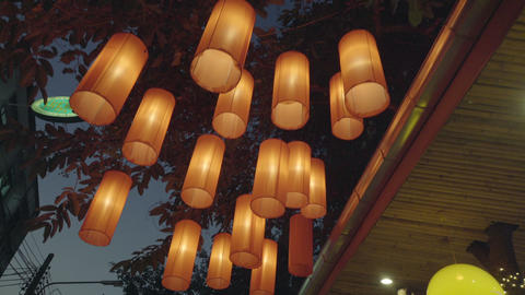 paper lantern at asian restaurant Footage