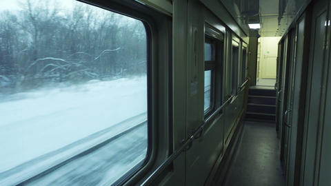 Empty Corridor Of Passenger Train Car stock footage