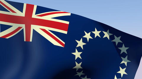 Flag Of The Cook Islands stock footage