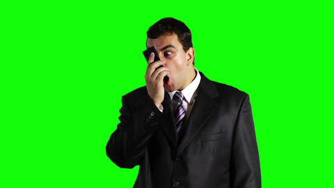 Young Businessman Cell Phone Angry Greenscreen 22 stock footage