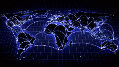 Growing Global Network Across The World Map. Internet And Business Concept. 4K stock footage
