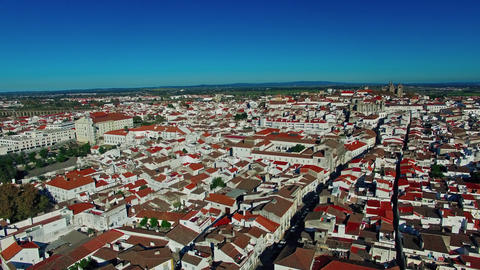 Evora city panoramic aerial view Footage