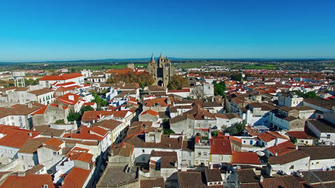 Evora City Panoramic Aerial View stock footage