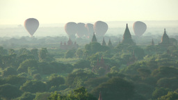 Balloons Landing At Temples,Bagan,Burma stock footage
