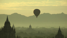 Balloons Floating Over Temples,Bagan,Burma stock footage