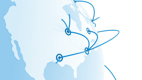 Flying around the World with the Growing Global Network. Lines and Dots. Busines Animation