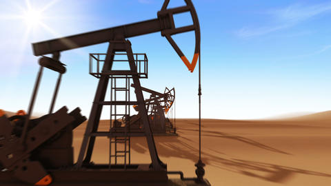 Flight Through The Working Oil Pump Jacks In The Desert. Looped 3d Animation. Su stock footage