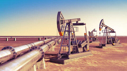 Oil Pumps Working At The Pipeline In The Desert. Looped 3d Animation. Technology stock footage