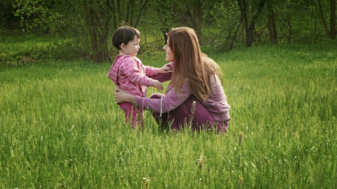 Mother And The Baby Girl stock footage