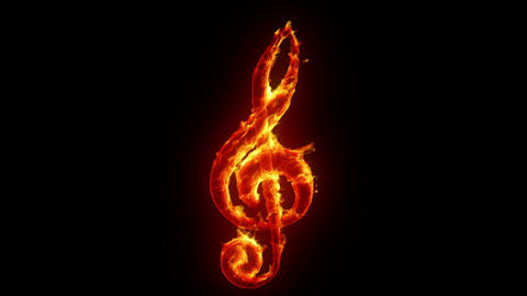 Burning Treble Clef stock footage