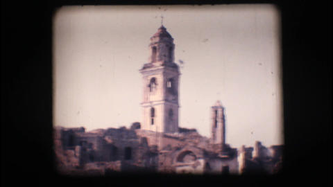 Vintage 8mm. View Of Old Bussana stock footage
