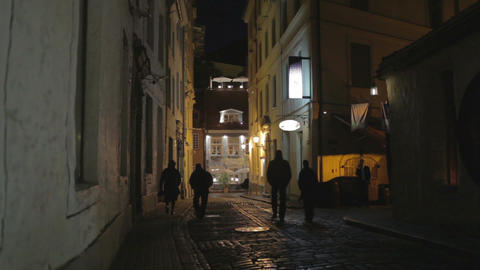Street Of The Old City At Night. The Silhouettes Of Passers-by stock footage