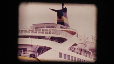 Vintage 8mm. Docked Cruise Ship stock footage