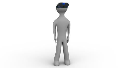 3d man in a virtual reality headset on white and transparent background Animation