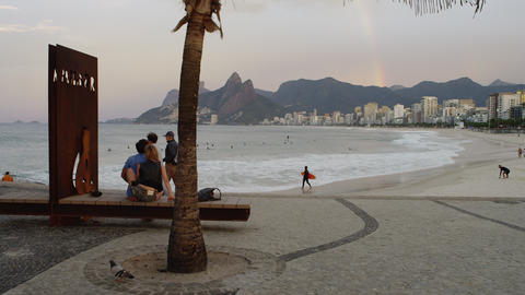 Tracking Shot Of A Pebbled Rest Area At Ipanema Beach In Rio De Janeiro stock footage