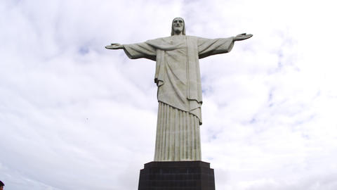 Low-angle Still Footage Of Rio's Christ Statue stock footage