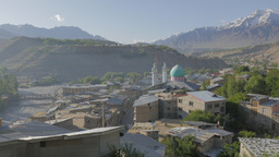 View Over Kargil City With Suru River And Mountains,Kargil,India stock footage