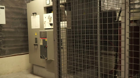 interior high voltage transformer in a power (electrical) power substation Footage