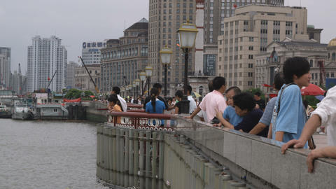 People Standing At A Dock In Shanghai China stock footage