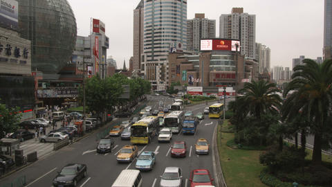 Clip Of Busy Traffic In Downtown Shanghai China stock footage
